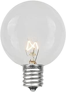 Novelty Lights 25 Pack G50 Outdoor String Light Globe Replacement Bulbs, Clear, E12/C7 Base, 7 Watt