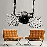 mlpnko Calcomanía de Estudio fotográfico Creativo cámara Sala de investigación de Mano calcomanía de Pared de Vinilo de belleza63X70cm
