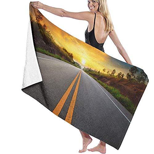 DSFA Sonnenaufgang Sonnenuntergang Straße Handtuch schnell schnell trocken Sand frei super saugfähig ultraleichte kompakte Outdoor-Reise-Stranddecke für Schwimmgymnastik