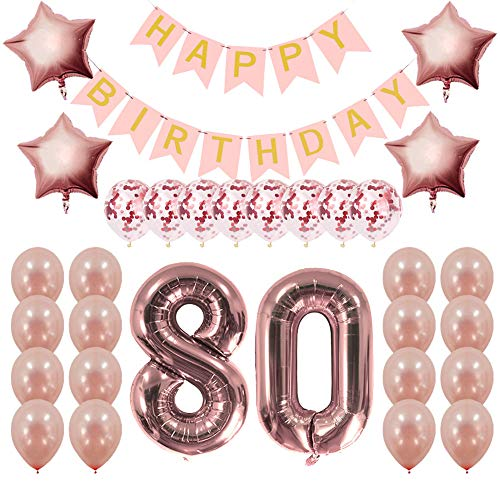 Rose Gold 80th Birthday Decorations Party Supplies Gifts for Women - Create Unique Events with Happy Birthday Banner, 80 Number and Confetti Balloons