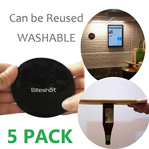 Premium Fixate Cell Pads von Sunshot [5 PACK], Sticky Anti-Rutsch GEL Pads - kann auf Glas, Spiegel, Whiteboards, Metall, Küchenschränke oder Fliesen, Auto GPS und vieles mehr (5pack-schwarz)