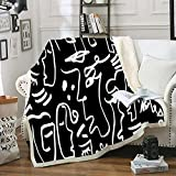 Bedbay Sherpa Fleece Throw Blanket Black White Blanket and Throws Soft Fuzzy Plush Blanket for Bed Couch Sofa Abstract Human Face Painting Art (Black White,Throw(50'x60'))
