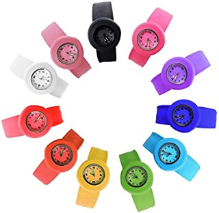 HSW Slap on Watch Silicone Quartz Number Fashion Watch Sport Wrist Band for Children Boy Girl Lady Women Men Unisex Snap K...
