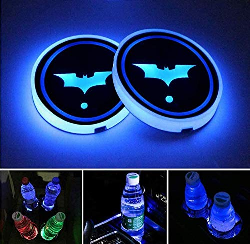 STORE-OK 2PCS Universal LED Car Cup Holder Lights, 7 Colors Changing USB Charging Mat Luminescent Cup Pad,LED Car Interior Atmosphere Light (Bat)