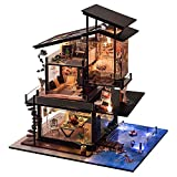 JUZIHOUSE DIY Dollhouse Handgefertigtes Holz-Puppenhaus zur Selbstmontage,mit LED-Beleuchtung und...