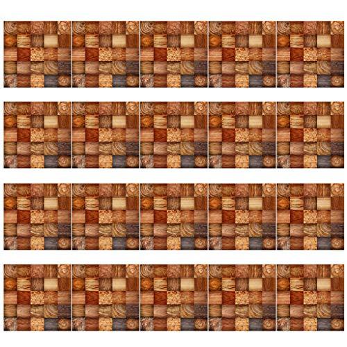 S-TROUBLE 20 Piezas de imitación de Madera de Grano de baldosas Piso Etiqueta de la Pared Autoadhesivo DIY Sala de Estar Cocina baño decoración del hogar