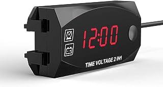 mewmewcat Multifuncional 6V-30V 2 em 1 voltímetro para relógio de ponto de veículo elétrico de motocicleta com painel de e...
