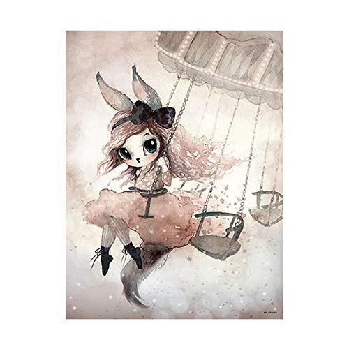 Nordic masker konijn meisje op maan engel cartoon canvas schilderij muur foto's voor kinderen kinderkamer decoratie muur poster 40x50cm geen frame 2