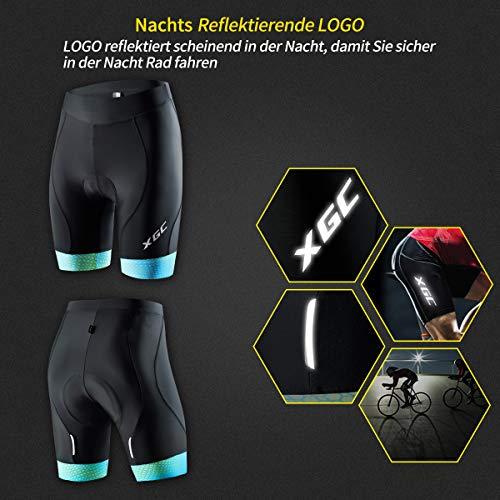 XGC Damen Kurze Radlerhose und Radunterhose Radsportshorts Fahrradhose für Frauen elastische 3D Schwamm Sitzpolster mit Einer hohen Dichte (Blue_Green, S) - 3