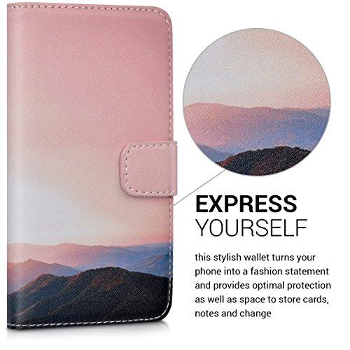 kwmobile Huawei Y6 II Compact (2016) Hülle - Kunstleder Wallet Case für Huawei Y6 II Compact (2016) mit Kartenfächern und Stand - Berg Morgenröte Design Altrosa Schwarz - 2
