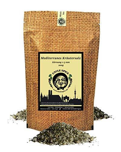 Uncle Spice Mediterranes Kräutersalz- 200g Kräuter-Gewürz-Salz - Premiumqualität - Meersalz mit Kräutern der Provence - von Hand gemischt und abgefüllt ohne Rieselhilfen - Perfekt für Salate