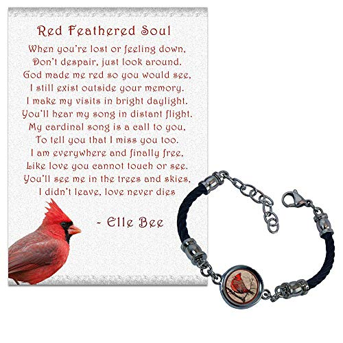 Lola Bella Gifts and Spirit Lala Red Feathered Soul Cardinal Reversible Stainless Bracelet with Backside Our Love Will Never Die w/Poem Card, Gift Box Grief Sympathy Gift