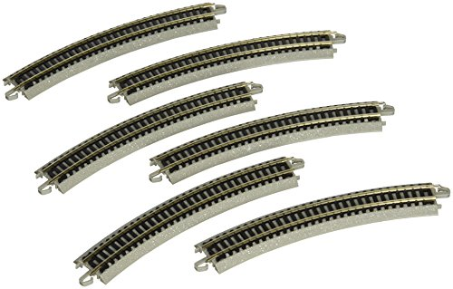 """Bachmann Trains - Snap-Fit E-Z TRACK 11.25"""" RADIUS CURVED TRACK (6/card) - NICKEL SILVER Rail With Grey Roadbed - N Scale, 8"""