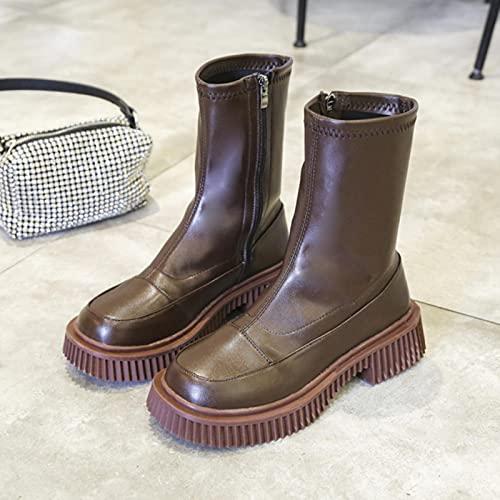 ZXCN 2021 Nouveau Cuir Chunky Chunky Femmes Bottines Bottines à Lacets Low Up Talon Bas Casual Dames Chaussures Plate-Forme Épais Plate-Forme Femelle Bottes Courtes
