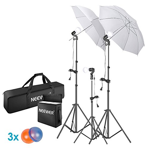 Neewer 5500K Photo Studio Continuous Lighting Umbrellas Kit for Portrait Photography, Studio and Video Shooting, Includes: Umbrella, 15W LED Bulb, 83-inch Light Stand, 33-inch Mini Tripod, Gel Filters