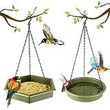 Hanging Bird Bath - DOPGL Hummingbird Feeder, Hanging Bird Feeder, 2 in 1 Platform Bird Bath & Feeder Tray, Bird Baths for Outdoors (Dark Green)