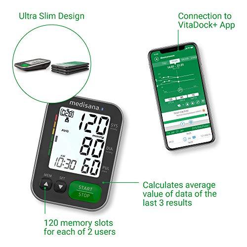 Medisana BU 570 connectée Tensiomètre à bras, affichage de l'arythmie, Bluetooth pour une mesure précise de la pression artérielle et du pouls avec fonction mémoire