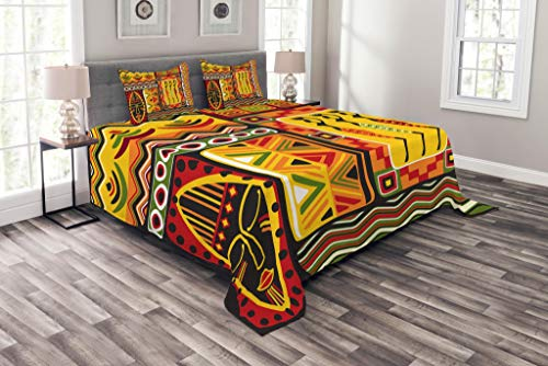 Lunarable African Bedspread, Elements Historical Original Striped and Rectangle Shapes Design, Decorative Quilted 3 Piece Coverlet Set with 2 Pillow Shams, Queen Size, Scarlet Yellow