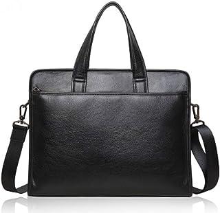 Mens Messenger Bag Laptop Bag14 Inch Office Briefcase PU Leather Work Satchel Handbag Black (Color : Black, Size : Free Size)