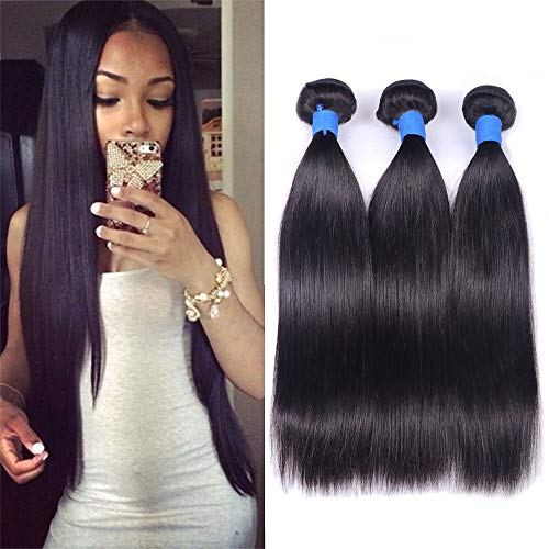 Ucrown Brazilian Virgin Hair Straight Hair Weave 3 Bundles Full Head Unprocessed Virgin Human Hair Weave Natural Black Hair Extension (14 16 18, Three Bundles)