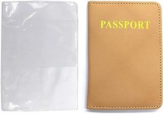 PU Passport Holder and 5 Transparent Plastic Passport Cover, Clear Vinyl Plastic Passport Cover Hold