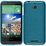 PhoneNatic Silicone Case Compatible with HTC Desire 510 - Brushed Blue Cover + Protective foils