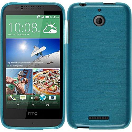 PhoneNatic Hülle kompatibel mit HTC Desire 510 - blau Silikon Hülle Brushed + 2 Schutzfolien