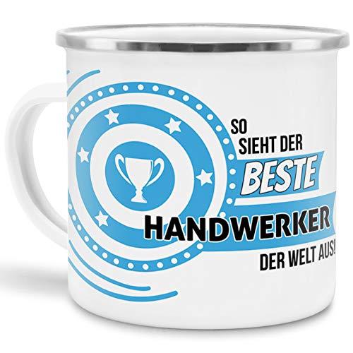 Emaille-Tasse mit Spruch So Sieht der Beste Handwerker der Welt aus - Beruf/Arbeit/Hobby/Edelstahl-Becher/Metall-Tasse/Kollege