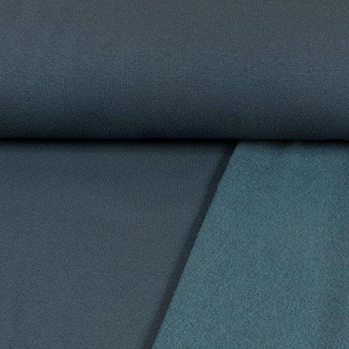 Sweatshirt Stoff Uni Marine Sweat weiche angeraute Rückseite einfarbig kuschelig Meterware - Preis Gilt für 0,5 Meter