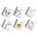 Notizbuch Klein, Yuccer Tragbar Klein Spirale Notebook mit Cute Cartoon Muster Mini Tagebuch Notizblock(6 PCS) (A)
