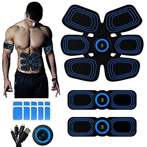 YUGN® Vitality EMS Muskelstimulator Bauchtrainer Bauchmuskeltrainer mit Display - USB wiederaufladbar- 10 Gel Pads, kostenloses eBook - EMS Trainingsgerät für Damen und Herren