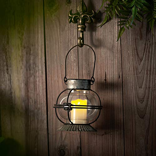 Glasseam Antike Metallkerzenlaterne, Hängende/Tischplatte Vintage Mantel Dekor Bauernhaus Wandkerzenhalter Geeignet Für LED-Kerze, Rustikales Hochzeitsmittelstück