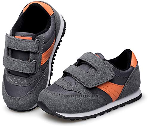RIBONGZ Wide Toddler Boys Shoes Slip On Little/Baby Girls Sneakers for Athletic Walking Running Outdoor/Indoor Grey/Orange Size 6