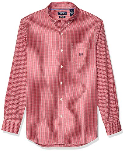 Chaps Men's Classic Fit Long Sleeve Stretch Easy Care Shirt, Park Avenue Red Multi, L