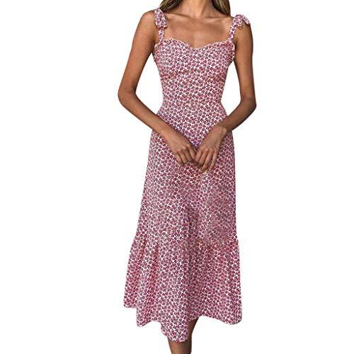 Kingko® Damen Chiffon Kleid Strandkleid Blumen Druckkleid Bandeaukleid Floral Sommerkleid Spaghettiträger Kleid A-Linie Abendkleid Knielang Spagettiträgern Cocktailkleid (XL, Rot)