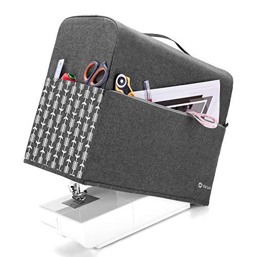 Yarwo Funda para Máquina de Coser, Cubierta para Máquina de Coser, Encaja para la Mayoría de Las Máquinas de Coser Estándar, Gris con Patrón de Flecha