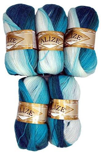 Alize 5 x 100 g Strickwolle Mehrfarbig mit Farbverlauf, 500 Gramm Strickgarn mit 20% Wolle-Anteil (Petrol türkis weiß 1892)