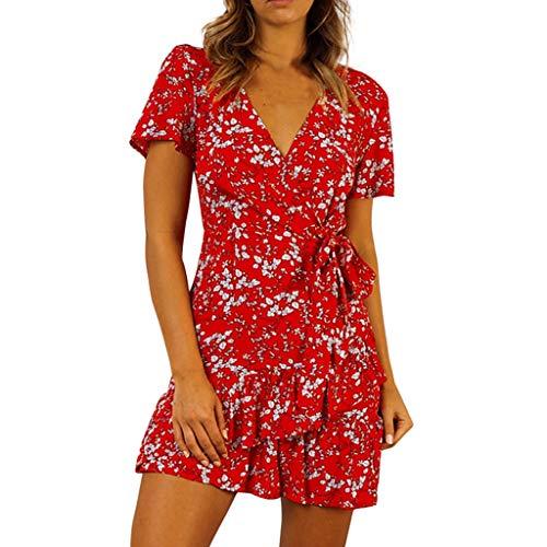 Vestidos para Mujer,Vestido Verano Impresión Estampado Casual Sexys Cuello en v Vestidos Cortos Fiesta Vestidos Vestido de Noche Falda de Playa vpass
