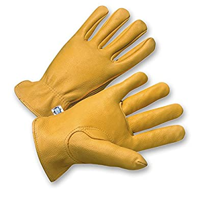 """West Chester 9920K Leather Glove, Shirred Elastic Wrist Cuff, 9.125"""" Length, (Pack of 12 Pairs)"""