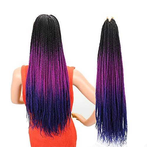 Ombre Box Braids Crochet Hair 24 Inch 24 Strands/6Packs 100g/Pack High Temperature Fiber Box Braid Hair Extensions Crochet Braids for Women ( Black-Purple-Blue) Handmade
