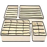 Veraing 4 Stück Aufbewahrungsbox Schubladenunterteilungen Faltbare Schublade Organizer für Unterwäsche Aufbewahren Socken Schals Büstenhalter andere kleine Zubehörteile