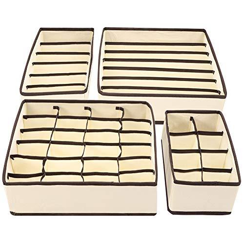 Veraing 4 Stück Aufbewahrungsbox, Schubladenunterteilungen Faltbare Schublade Organizer für Unterwäsche Aufbewahren Socken Schals Büstenhalter andere kleine Zubehörteile