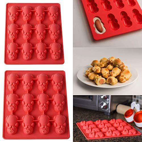 HOT1950s 1/2 Pièces Moule à Chocolat Muffins- 12 Petits cochons dans Un Moule de Cuisson en Silicone, pour couvercles à Muffins en Silicone, pour Bonbon/Glace/Gelée/Petit Savon (2pc)