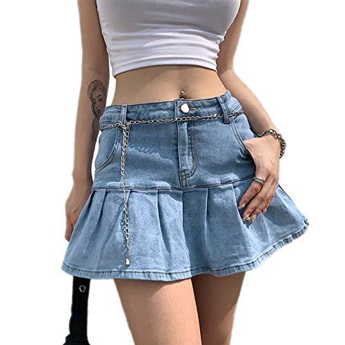 Y2k - Minigonna in jeans da donna, a vita alta, con pantaloncini, Azzurro, S