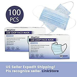 MagiCare 3Ply Face ????????????????, Disposable Face Shields, Face Cover with with Comfortable Earloop (100PCS)