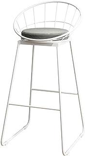 YUMUO Taburetes de Bar Asiento Redondo y Suave Sillas cómodas con Patas de Metal y sillas de Respaldo para la Barra de la Cocina J1212 (Color: Dorado, tamaño: Asiento Blanco)