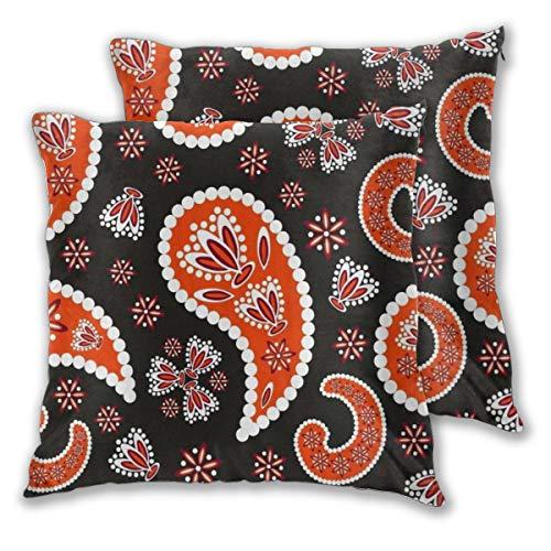 DECISAIYA Fundas de Cojines,Paisley Oriental Naranja Floral Decorativo como Pepino Indio,Poliéste Funda de Almohada Cuadrado para Sofá Cama Decoración para Hogar,Set de 2,60x60cm