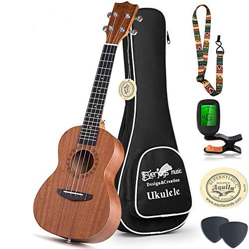 Concert Ukulele Mahogany - 23 inch w/Case Professional Wooden Ukulele Free Uke Strap Case Picks Strings (23 inch, Mahogany)