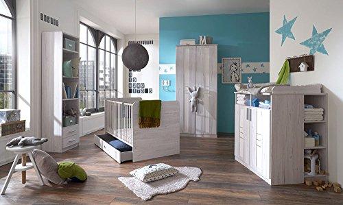 lifestyle4living Babyzimmer Komplett-Set in Grau-Weiß, Kinderzimmer in Weißeiche-NB ist 4 teilig | modernes Kinderzimmer für Jungen und Mädchen