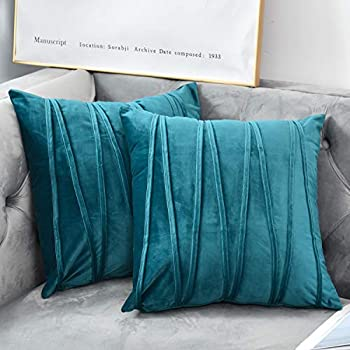 NianEr Euro Oversized Large Decorative Velvet Throw Pillow Covers Sofa Accent Couch Pillows Set of 2 for Bed Square Pillow Cases 26X26 Teal